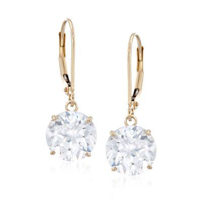 6.00 ct. t.w. CZ Drop Earrings in 14kt Yellow Gold , , default