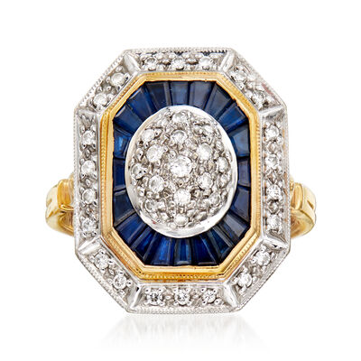 C. 1980 Vintage 1.40 ct. t.w. Sapphire and .35 ct. t.w. Diamond Cocktail Ring in 14kt Two-Tone Gold