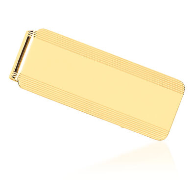 14kt Yellow Gold Polished Engravable Money Clip