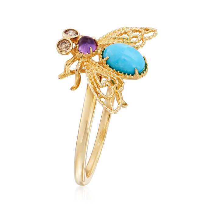 Turquoise and .10 Carat Amethyst Bee Ring with Brown Diamond Accents in 14kt Yellow Gold