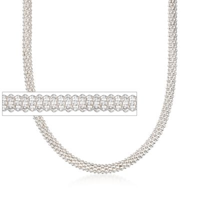 Italian 6mm Sterling Silver Popcorn Chain Necklace