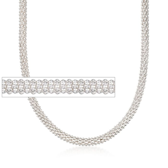 """Italian 6mm Sterling Silver Popcorn Chain Necklace. 20"""", , default"""