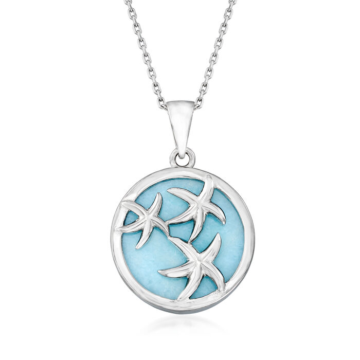 Larimar Starfish Pendant Necklace in Sterling Silver. 18""