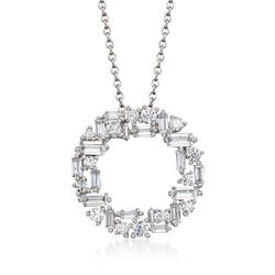 "1.75 ct. t.w. Baguette and Round CZ Open Circle Pendant Necklace in Sterling Silver. 16"", , default"
