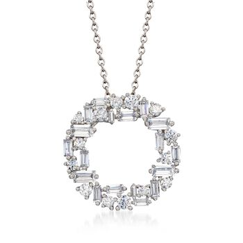 """1.75 ct. t.w. Baguette and Round CZ Open Circle Pendant Necklace in Sterling Silver. 16"""", , default"""