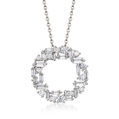 1.75 ct. t.w. Baguette and Round CZ Open Circle Pendant Necklace in Sterling Silver, , default
