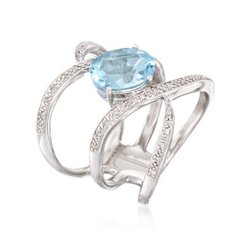 2.80 Carat Blue Topaz and .10 ct. t.w. Diamond Open Ring in Sterling Silver. Size 7, , default