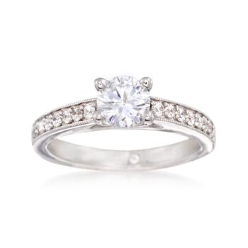 Gabriel Designs .25 ct. t.w. Diamond Engagement Ring Setting in 14kt White Gold, , default