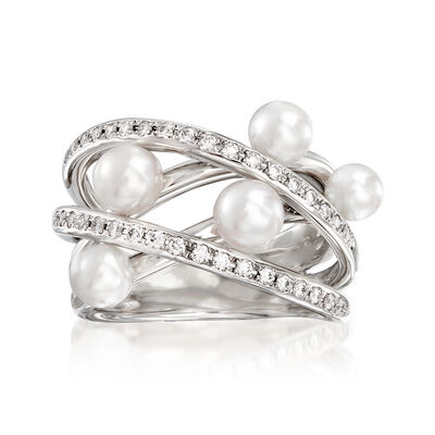 "Mikimoto ""Japan"" 4-5mm A+ Akoya Pearl and .32 ct. t.w. Diamond Highway Ring in 18kt White Gold"