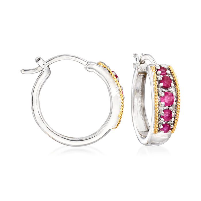 """.60 ct. t.w. Ruby and Diamond-Accented Hoop Earrings in Sterling Silver with 14kt Yellow Gold. 3/4"""", , default"""