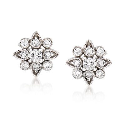 Gabriel Designs .25 ct. t.w. Diamond Flower Stud Earrings in 14kt White Gold, , default