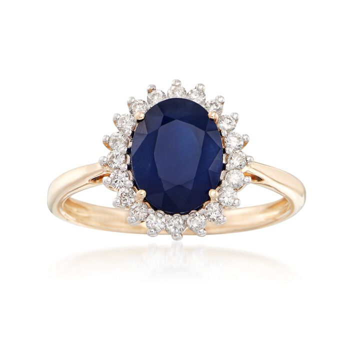2.00 Carat Sapphire and .24 ct. t.w. Diamond Ring in 14kt Yellow Gold, , default