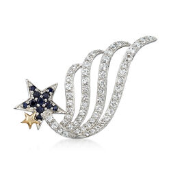 1.80 ct. t.w. White Topaz and .30 ct. t.w. Sapphire Shooting Star Pin in Sterling Silver, , default
