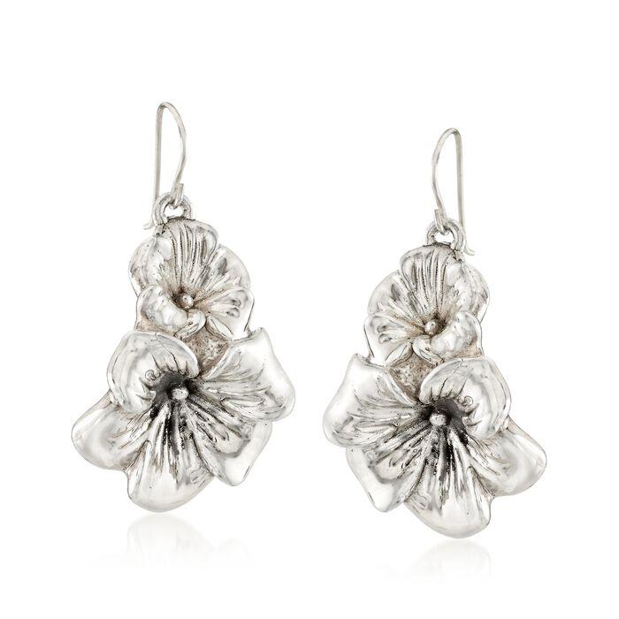 Sterling Silver Flower Duo Drop Earrings, , default