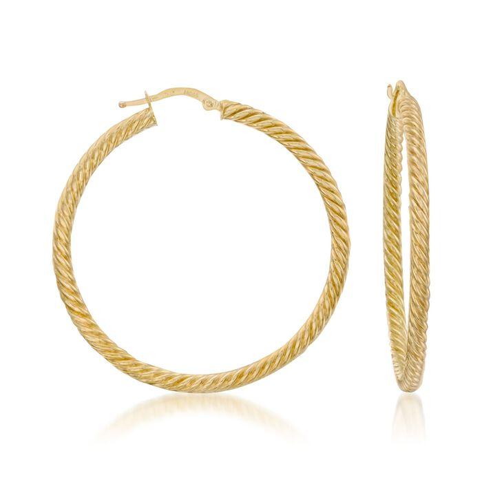 """14kt Yellow Gold Twist Hoop Earrings. 2"""""""