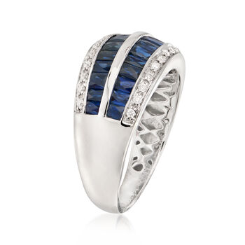 2.10 ct. t.w. Baguette Sapphire and .14 ct. t.w. Diamond Ring in 14kt White Gold