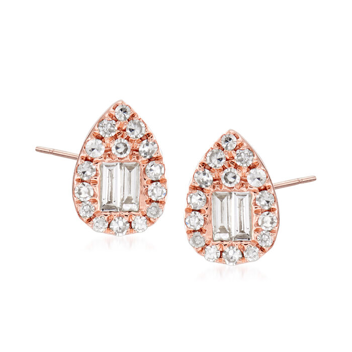 .31 ct. t.w. Round and Baguette Diamond Teardrop Earrings in 18kt Rose Gold