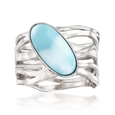 Larimar Open-Space Ring in Sterling Silver, , default