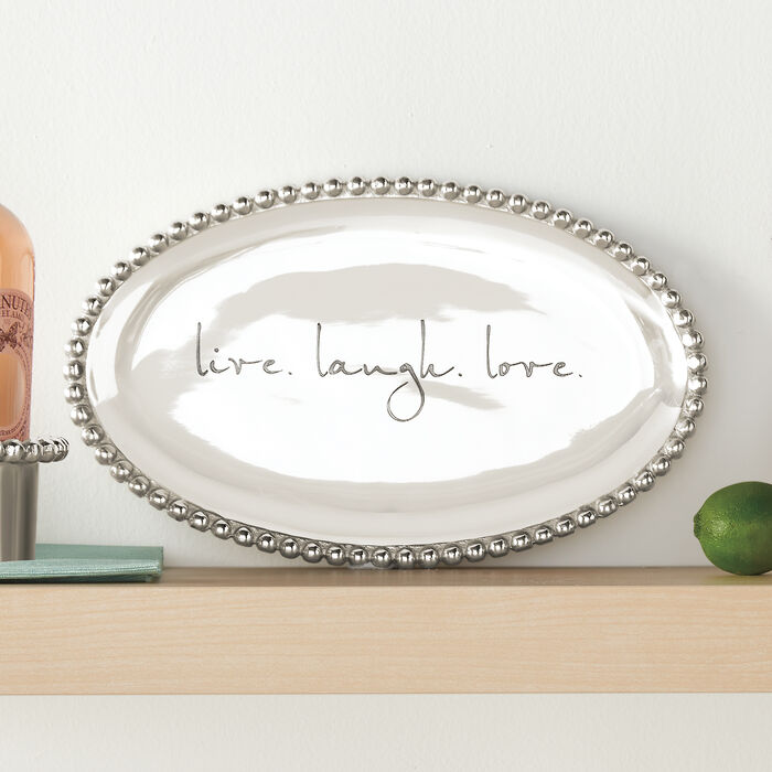 """Mariposa """"String of Pearl"""" Personalized Oval Serving Platter, , default"""