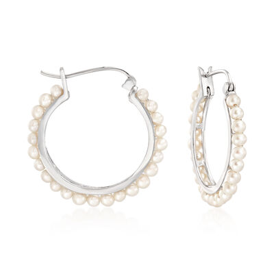 3-3.5mm Cultured Pearl Hoop Earrings in Sterling Silver
