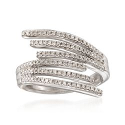 .25 ct. t.w. Diamond Multi-Row Bypass Ring in Sterling Silver. Size 6, , default
