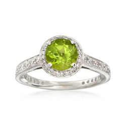 C. 2000 Vintage Ritani 1.35 Carat Peridot and .60 ct. t.w. Diamond Ring in Platinum. Size 6.25, , default
