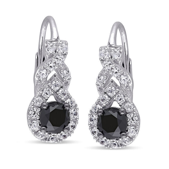 1.00 ct. t.w. Black Diamond and .70 ct. t.w. Synthetic White Sapphire Drop Earrings in Sterling Silver, , default