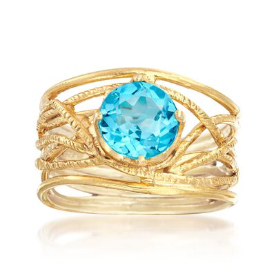 2.20 Carat Blue Topaz Textured Openwork Ring in 18kt Gold Over Sterling, , default