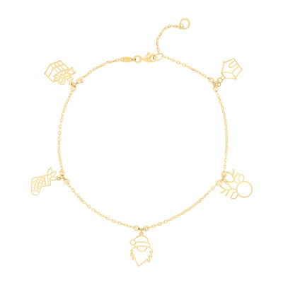 14kt Yellow Gold Holiday Charm Bracelet