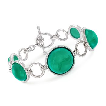 """Green Chalcedony Link Toggle Bracelet in Sterling Silver. 7"""", , default"""