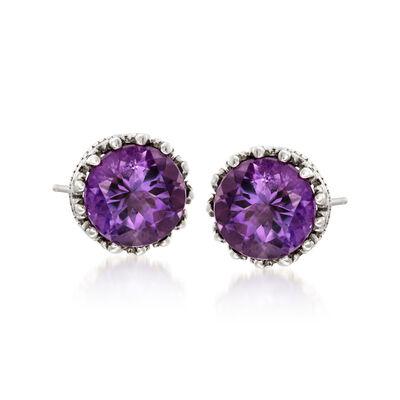 3.60 ct. t.w. Amethyst Stud Earrings in Sterling Silver, , default