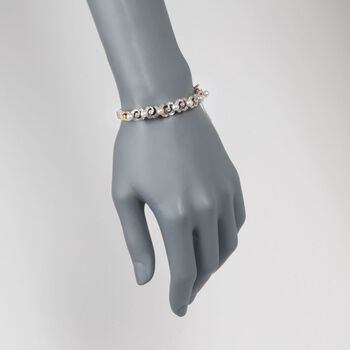 "C. 1950 Vintage 4.5-5mm Cultured Pearl and .60 ct. t.w. Diamond Bangle Bracelet in 14kt Yellow Gold. 7"", , default"