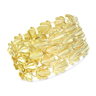 Italian 14kt Yellow Gold Leaf Link Bracelet, , default