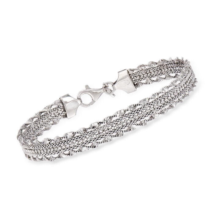 Italian Multi-Strand Chain Bracelet in Sterling Silver, , default