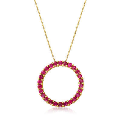 C. 1980 Vintage 1.50 ct. t.w. Ruby Circle Pendant Necklace in 10kt and 14kt Yellow Gold