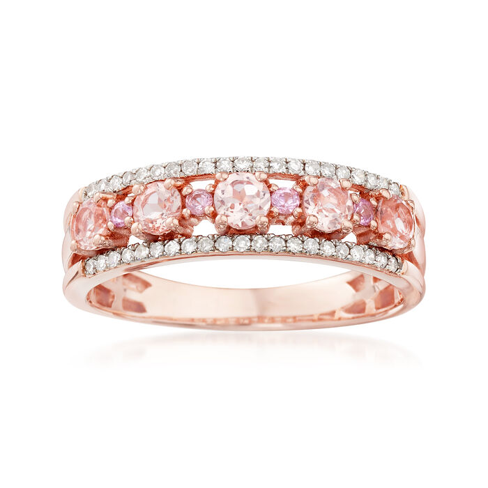 .45 ct. t.w. Morganite Ring with Diamonds and Pink Sapphires in 18kt Rose Gold Over Sterling, , default