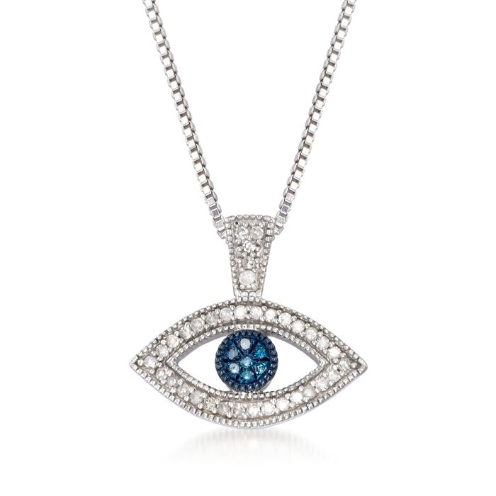 .10 ct. t.w. Blue and White Diamond Evil Eye Pendant Necklace in Sterling Silver, , default