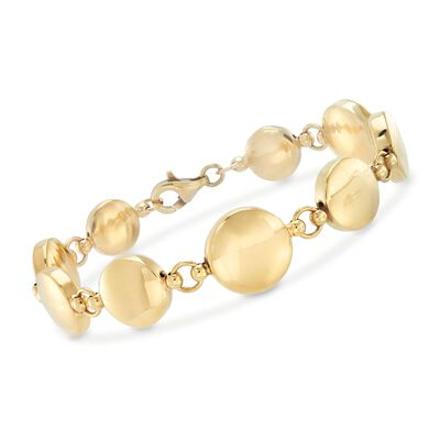 Italian 14kt Yellow Gold Graduated Puffed Circle Bracelet , , default