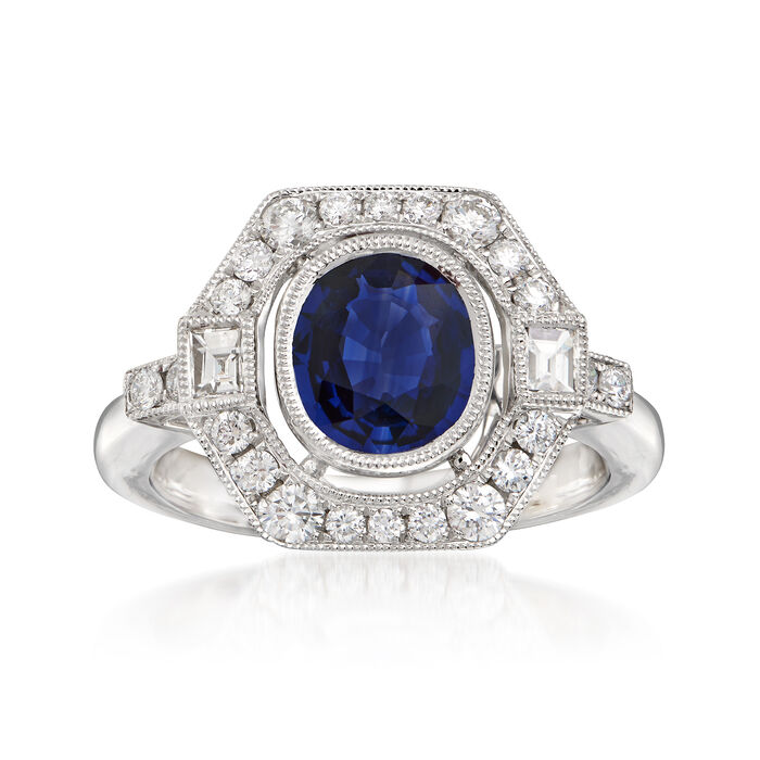 1.70 Carat Sapphire and .60 ct. t.w. Diamond Frame Ring in 18kt White Gold. Size 7