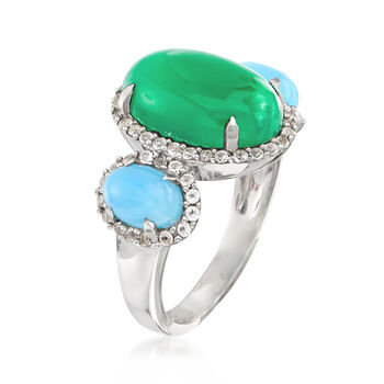 Green and Blue Chalcedony Ring with .50 ct. t.w. White Topaz in Sterling Silver, , default