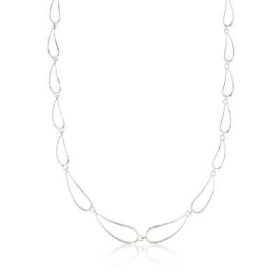 "Zina Sterling Silver ""Classic Zina"" Scalloped Wire Teardrop Necklace, , default"