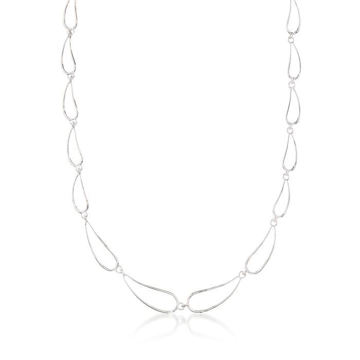 """Zina Sterling Silver """"Classic Zina"""" Scalloped Wire Teardrop Necklace. 17"""", , default"""