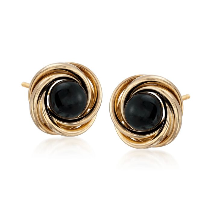 Black Onyx Stud Swirl Knot Earrings in 14kt Yellow Gold, , default