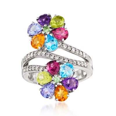 4.18 ct. t.w. Multi-Gemstone Flower Ring in Sterling Silver