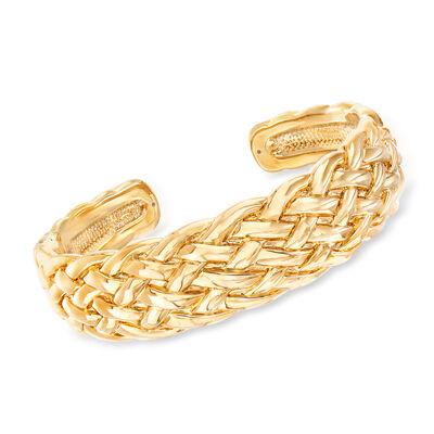 14kt Yellow Gold Basketweave Cuff Bracelet, , default