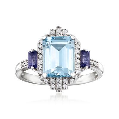 1.90 Carat Aquamarine, .20 ct. t.w. Iolite and .16 ct. t.w. Diamond Ring in 14kt White Gold, , default