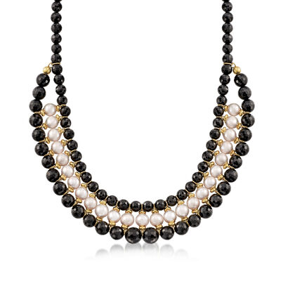 Italian 9.5-10mm White Cultured Pearl and 8-10mm Black Agate Bead Bib Necklace in 18kt Gold Over Sterling, , default