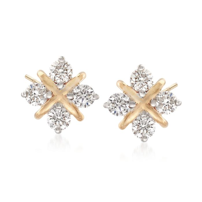 .80 ct. t.w. Diamond Square Stud Earrings in 14kt Yellow Gold