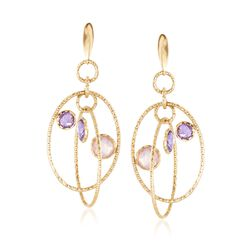 Rose Quartz and 4.00 ct. t.w. Amethyst Drop Earrings in 14kt Yellow Gold , , default