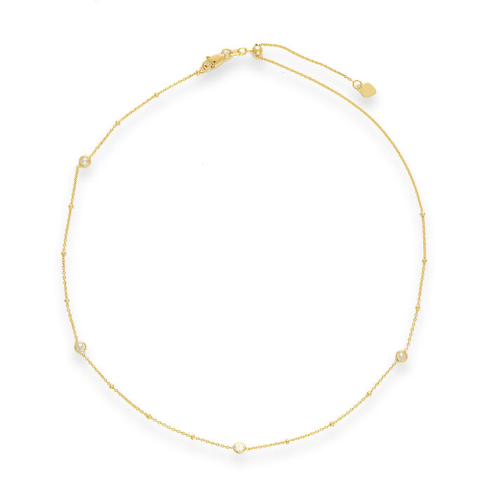 .96 ct. t.w. CZ Four-Station Choker Necklace in 14kt Yellow Gold